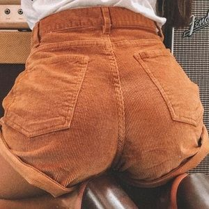 Pants - Corduroy High Waist Shorts